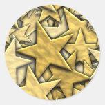 Gold Stars Classic Round Sticker