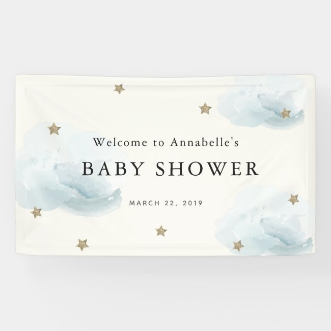 Gold Stars & Clouds Baby Shower Banner