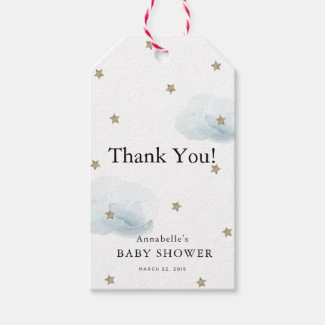 Gold Stars & Clouds Baby Shower Thank You GIft Tag