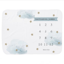 Gold Stars & Clouds Blue Boy Monthly Milestone Baby Blanket