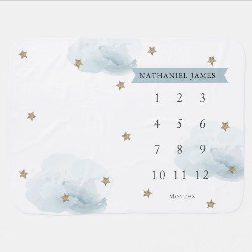 Gold Stars  Clouds Blue Boy Monthly Milestone Baby Blanket