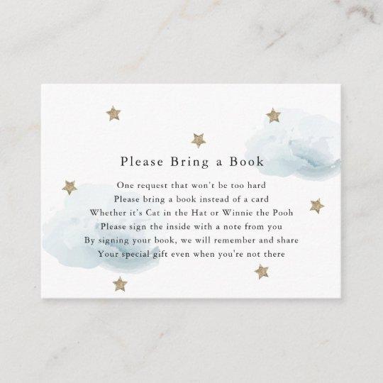 Gold Stars Clouds Please Bring A Book Card