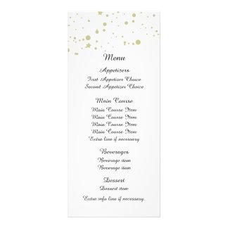 Gold Stars Confetti White Wedding Menu Custom Rack Cards