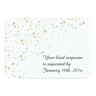 Gold Stars Confetti White Wedding RSVP 3.5x5 Paper Invitation Card