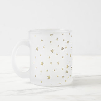 Gold Stars Frosted Glass Coffee Mug