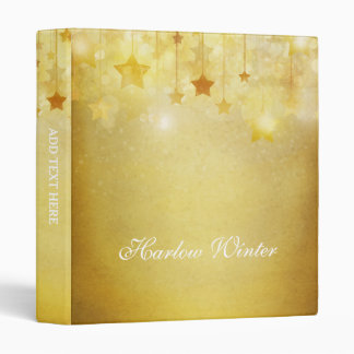 Gold Stars Glitter Personalized Binder