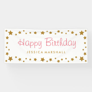 Gold Stars Happy Birthday Banner
