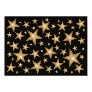 "Gold Stars invitation black 5"" X 7"" Invitation Card"