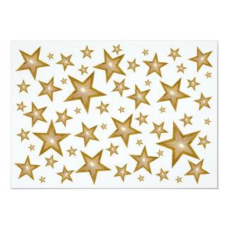"""Gold Stars invitation white 5"""" X 7"""" Invitation Card"""