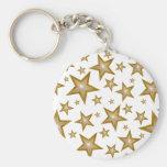 Gold Stars keychain white