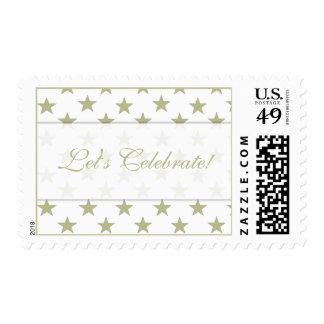 Gold Stars Let's Celebrate! Postage Stamps