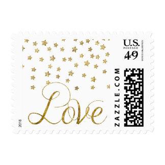 Gold Stars Love Postage