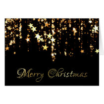Gold Stars Merry Christmas Greeting Card