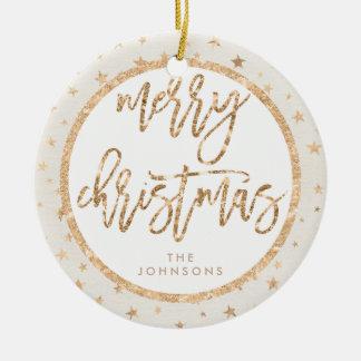 Gold Stars Merry Christmas Ornament Cream