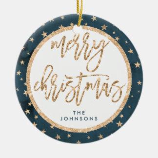 Gold Stars Merry Christmas Ornament Midnight