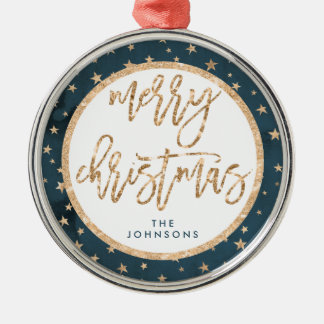 Gold Stars Merry Christmas Ornament Midnight Metal