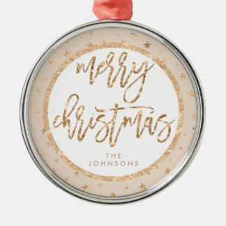 Gold Stars Merry Christmas Ornament Peach Metal