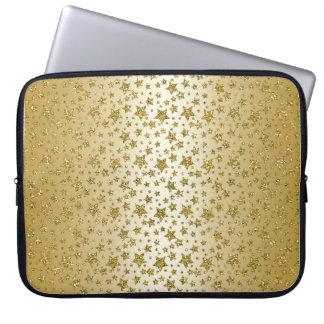 Gold Stars Metallic Sparkle Texture Glitter Laptop Sleeve