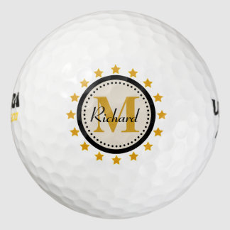 Gold Stars Monogram Golf Balls