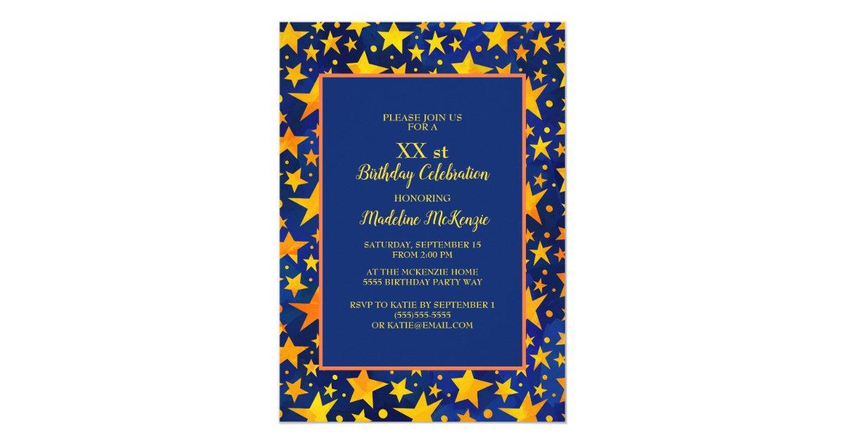 Gold stars navy blue birthday party invitation zazzle filmwisefo