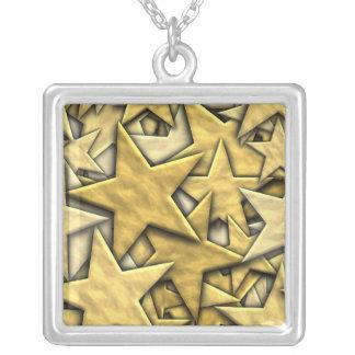 Gold Stars Square Pendant Necklace
