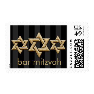 Gold Stars of David on Any Color Bar Mitzvah Postage