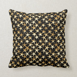 Gold stars on a black background throw pillow