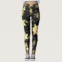 Gold Stars on Black Background Leggings