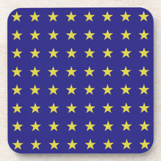 Gold Stars on Blue Background EU Colors Pattern Coaster