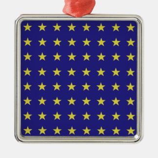 Gold Stars on Blue Background EU Colors Pattern Metal Ornament
