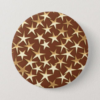 Gold stars on chocolate brown button
