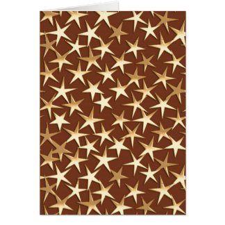 Gold stars on chocolate brown card
