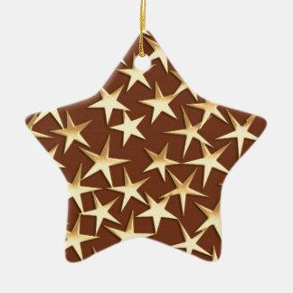 Gold stars on chocolate brown ceramic ornament
