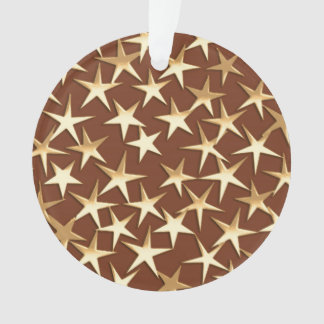 Gold stars on chocolate brown ornament