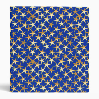 Gold stars on cobalt blue binder