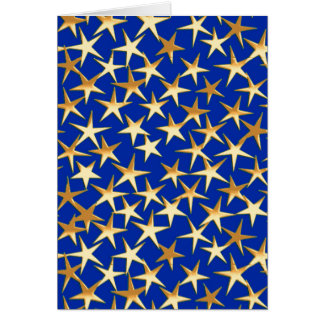 Gold stars on cobalt blue card