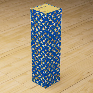 Gold stars on cobalt blue wine gift box