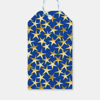 Gold stars on cobalt blue pack of gift tags