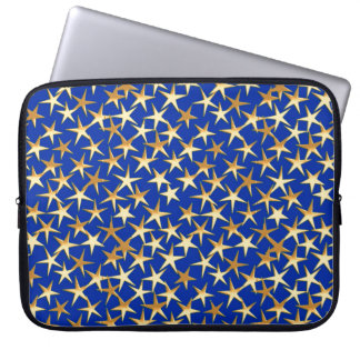 Gold stars on cobalt blue laptop computer sleeves