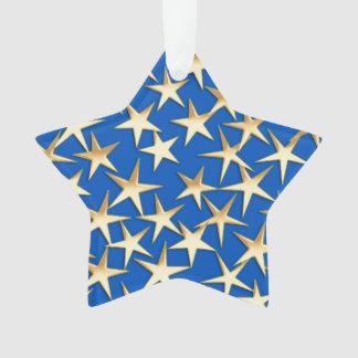 Gold stars on cobalt blue ornament