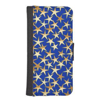 Gold stars on cobalt blue iPhone 5 wallet case