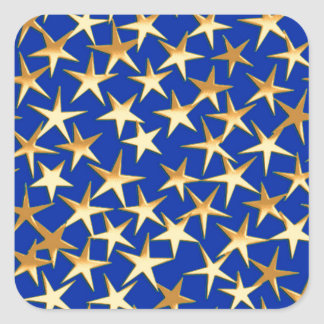 Gold stars on cobalt blue square sticker