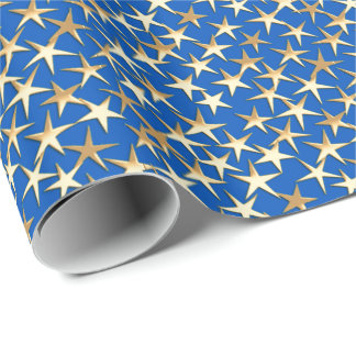 Gold stars on cobalt blue wrapping paper