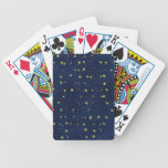 Gold Stars on Dark Blue Field Playing Cards