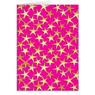 Gold stars on fuchsia pink card
