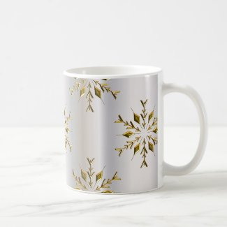 Gold Stars On Silver Christmas Coffee Mug