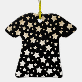 GOLD STARS Double-Sided T-Shirt CERAMIC CHRISTMAS ORNAMENT