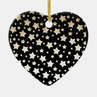 GOLD STARS Double-Sided HEART CERAMIC CHRISTMAS ORNAMENT