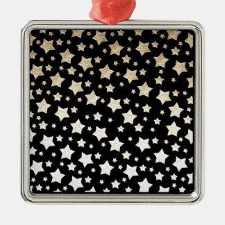 GOLD STARS SQUARE METAL CHRISTMAS ORNAMENT