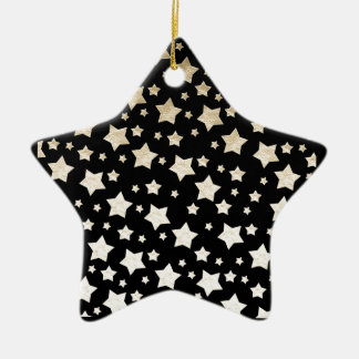 GOLD STARS Double-Sided STAR CERAMIC CHRISTMAS ORNAMENT